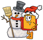 Clip Art Graphic of a Red and Yellow Sales Price Tag Cartoon Character With a Snowman on Christmas