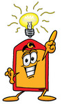 Clip Art Graphic of a Red and Yellow Sales Price Tag Cartoon Character With a Bright Idea