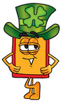 Clip Art Graphic of a Red and Yellow Sales Price Tag Cartoon Character Wearing a Saint Patricks Day Hat With a Clover on it