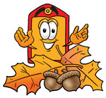 Clip Art Graphic of a Red and Yellow Sales Price Tag Cartoon Character With Autumn Leaves and Acorns in the Fall