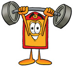 Clip Art Graphic of a Red and Yellow Sales Price Tag Cartoon Character Holding a Heavy Barbell Above His Head
