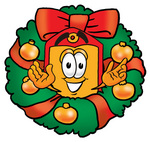 Clip Art Graphic of a Red and Yellow Sales Price Tag Cartoon Character in the Center of a Christmas Wreath
