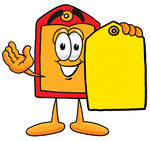Clip Art Graphic of a Red and Yellow Sales Price Tag Cartoon Character Holding a Yellow Sales Price Tag
