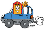 Clip Art Graphic of a Red and Yellow Sales Price Tag Cartoon Character Driving a Blue Car and Waving