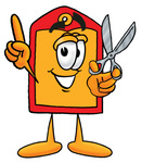 Clip Art Graphic of a Red and Yellow Sales Price Tag Cartoon Character Holding a Pair of Scissors