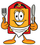 Clip Art Graphic of a Red and Yellow Sales Price Tag Cartoon Character Holding a Knife and Fork