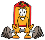 Clip Art Graphic of a Red and Yellow Sales Price Tag Cartoon Character Lifting a Heavy Barbell