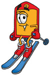 Clip Art Graphic of a Red and Yellow Sales Price Tag Cartoon Character Skiing Downhill
