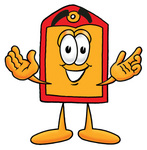 Clip Art Graphic of a Red and Yellow Sales Price Tag Cartoon Character With Welcoming Open Arms