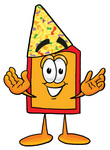 Clip Art Graphic of a Red and Yellow Sales Price Tag Cartoon Character Wearing a Birthday Party Hat
