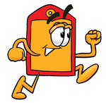 Clip Art Graphic of a Red and Yellow Sales Price Tag Cartoon Character Running