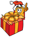 Clip Art Graphic of a Red and Yellow Sales Price Tag Cartoon Character Standing by a Christmas Present