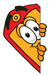 Clip Art Graphic of a Red and Yellow Sales Price Tag Cartoon Character Peeking Around a Corner