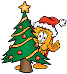 Clip Art Graphic of a Red and Yellow Sales Price Tag Cartoon Character Waving and Standing by a Decorated Christmas Tree
