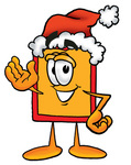 Clip Art Graphic of a Red and Yellow Sales Price Tag Cartoon Character Wearing a Santa Hat and Waving