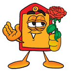 Clip Art Graphic of a Red and Yellow Sales Price Tag Cartoon Character Holding a Red Rose on Valentines Day