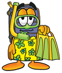 Clip Art Graphic of a Suitcase Luggage Cartoon Character in Green and Yellow Snorkel Gear