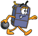 Clip Art Graphic of a Suitcase Luggage Cartoon Character Holding a Bowling Ball