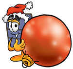 Clip Art Graphic of a Suitcase Luggage Cartoon Character Wearing a Santa Hat, Standing With a Christmas Bauble