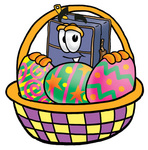 Clip Art Graphic of a Suitcase Luggage Cartoon Character in an Easter Basket Full of Decorated Easter Eggs