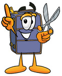Clip Art Graphic of a Suitcase Luggage Cartoon Character Holding a Pair of Scissors