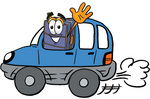 Clip Art Graphic of a Suitcase Luggage Cartoon Character Driving a Blue Car and Waving
