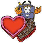 Clip Art Graphic of a Suitcase Luggage Cartoon Character With an Open Box of Valentines Day Chocolate Candies