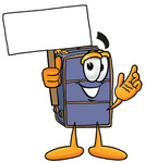 Clip Art Graphic of a Suitcase Luggage Cartoon Character Holding a Blank Sign