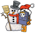 Clip Art Graphic of a Suitcase Luggage Cartoon Character With a Snowman on Christmas