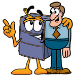 Clip Art Graphic of a Suitcase Luggage Cartoon Character Talking to a Business Man