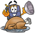 Clip Art Graphic of a Suitcase Luggage Cartoon Character Serving a Thanksgiving Turkey on a Platter