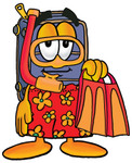Clip Art Graphic of a Suitcase Luggage Cartoon Character in Orange and Red Snorkel Gear