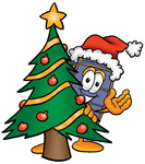 Clip Art Graphic of a Suitcase Luggage Cartoon Character Waving and Standing by a Decorated Christmas Tree