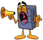 Clip Art Graphic of a Suitcase Luggage Cartoon Character Screaming Into a Megaphone