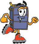 Clip Art Graphic of a Suitcase Luggage Cartoon Character Roller Blading on Inline Skates