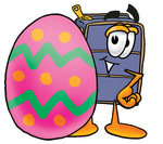 Clip Art Graphic of a Suitcase Luggage Cartoon Character Standing Beside an Easter Egg