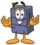 Clip Art Graphic of a Suitcase Luggage Cartoon Character With Welcoming Open Arms