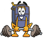 Clip Art Graphic of a Suitcase Luggage Cartoon Character Lifting a Heavy Barbell