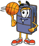 Clip Art Graphic of a Suitcase Luggage Cartoon Character Spinning a Basketball on His Finger