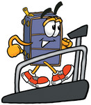 Clip Art Graphic of a Suitcase Luggage Cartoon Character Walking on a Treadmill in a Fitness Gym