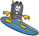 Clip Art Graphic of a Suitcase Luggage Cartoon Character Surfing on a Blue and Yellow Surfboard
