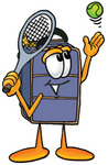 Clip Art Graphic of a Suitcase Luggage Cartoon Character Preparing to Hit a Tennis Ball