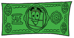 Clip Art Graphic of a Suitcase Luggage Cartoon Character on a Dollar Bill