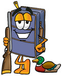 Clip Art Graphic of a Suitcase Luggage Cartoon Character Duck Hunting, Standing With a Rifle and Duck