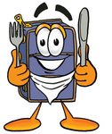 Clip Art Graphic of a Suitcase Luggage Cartoon Character Holding a Knife and Fork