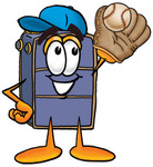 Clip Art Graphic of a Suitcase Luggage Cartoon Character Catching a Baseball With a Glove