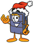 Clip Art Graphic of a Suitcase Luggage Cartoon Character Wearing a Santa Hat and Waving