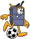 Clip Art Graphic of a Suitcase Luggage Cartoon Character Kicking a Soccer Ball