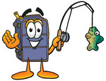 Clip Art Graphic of a Suitcase Luggage Cartoon Character Holding a Fish on a Fishing Pole
