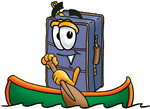 Clip Art Graphic of a Suitcase Luggage Cartoon Character Rowing a Boat